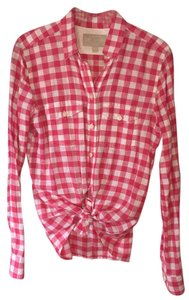 Banana Republic Gingham Shirt Pattern Top pink and white