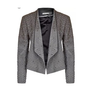 Alice + Olivia Gray embellished Leather Jacket