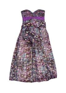 Maxi Dress by BCBGMAXAZRIA Purple Multi Color Print