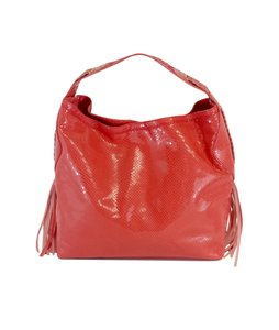 Cole Haan Coral Snakeskin Leather Hobo Bag