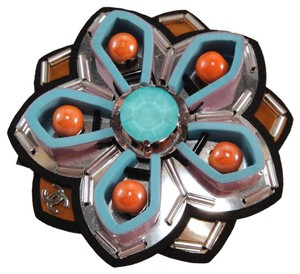 Chanel Orange Brown Silver Blue Lilac Logo Flower Camellia Brooch Pin #790