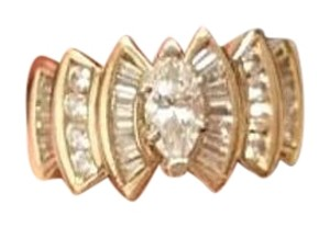 Kay Jewelers Marquis Diamond & Baguette 10kt solid gold ring
