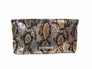 BCBGeneration Over Sequin Zip Large Gold Clutch
