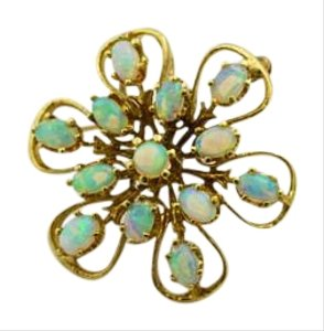 Bullion & Diamond Co. Antique Natural Opal 14k Gold Brooch Gemstone Jewelry