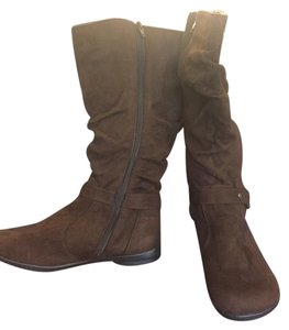 Riatto Suede Look Knee High Brown Boots