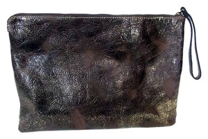 Patricia Nash Designs Textured Shimmer Leather Zip Pouch Gold Clutch