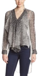 BCBGMAXAZRIA Top Black and white multi