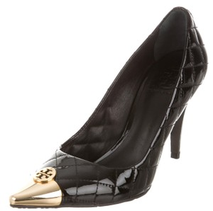 Tory Burch Gold Hardware Patent Leather Pointed Toe Reva Quilted Black, Gold Pumps