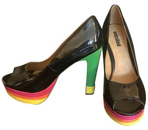 Unlisted by Kenneth Cole Peep Toe Platform Heel Multicolor Shine black multi Pumps