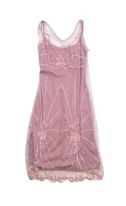 Betsey Johnson short dress Pink Embellished Mesh Overlay on Tradesy