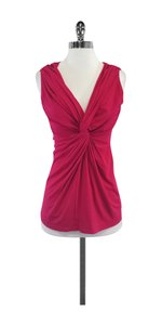 Donna Karan Cerise Gathered Jersey Top