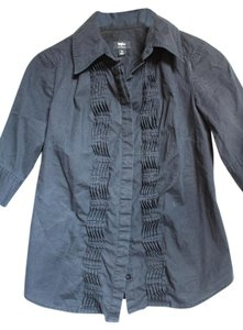 Mossimo Supply Co. Fitted 3/4 Sleeve Stretch Button Down Shirt Black