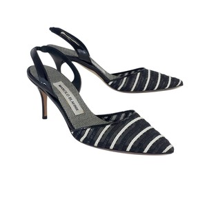 Manolo Blahnik Black White Leather Striped Heels Sandals