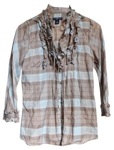 Gap Ruffle Button Button Down Shirt Blue and Gray Plaid