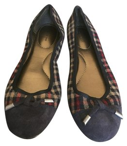 Lands' End Tan tan, navy blue, red plaid Flats