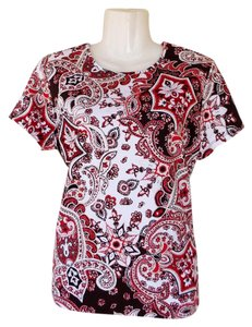 Croft & Barrow Paisley Floral Short Sleeve Top red, white, black