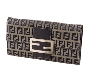 Fendi Grey navy Zucchino monogram print canvas Fendi wallet