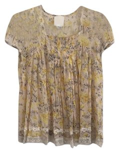 Anthropologie Top Multi - cream, yellow, and white
