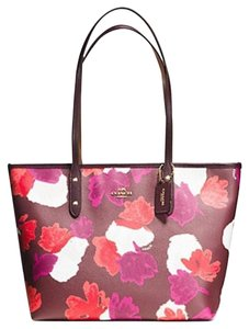Coach 36875 Satchel 36876 Tote in oxblood Floral/Gold Tone
