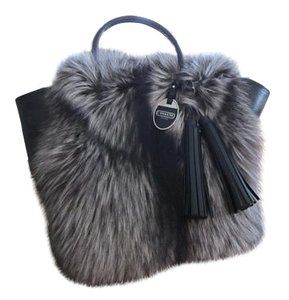 Coach Legacy Fox Fur Limited Edition Leather Tote in Black
