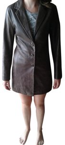 For Joseph Fitted Leather Distressed Brown Leather Jacket