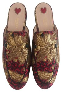 Gucci Red Golden Mules