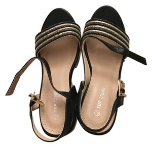 Other Striped Gold Faux Black Wedges