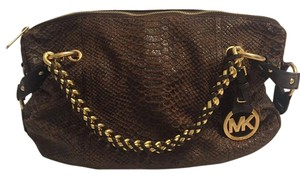 Michael Kors Leather Gold Accents Satchel in Brown