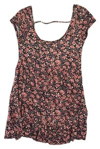 PacSun short dress Pink and Black Flower La Hearts Stretchy Comfy on Tradesy