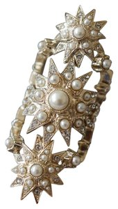 Chanel Chanel Gold Pearl Crystal Stars Statement Ring with 2 CC Logos Size 52