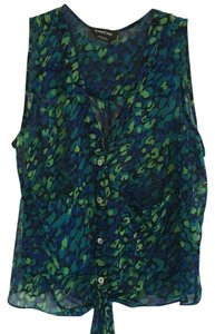 bebe Top Black, green, turquoise and blue in color