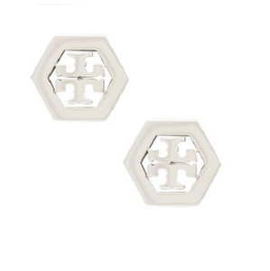 Tory Burch Tory Burch 31155532 Women's Hex-Logo Stud Silver Post Earrings NEW!