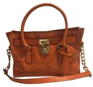 Michael Kors Gold Hardware Tote in Orange Ostrich