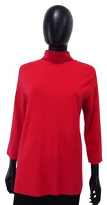 Other Eli 3/4 Sleeve Turtleneck Knit Top Red