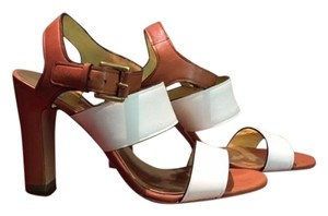 Coach High Heel Brown and White Sandals