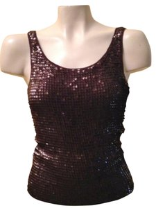 Worth Sequin Evening Embellished Knit Top Brown