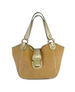 Michael Kors Light Gold Leather Straw Hobo Bag