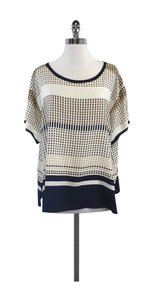 Vince Navy Cream Geo Print Silk Top