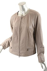 PESERICO Perforated Leather Beige Leather Jacket