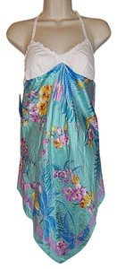 Le Mystère short dress White, Blue Multi-Color Halter Sun Night Gown Size Small Cover-up on Tradesy