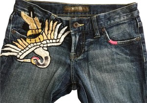 Switch USA Embroidered Bird Embellished Stretch Boot Cut Jeans