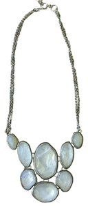 Lucky Brand White Faceted Stone Statement Bib Necklace