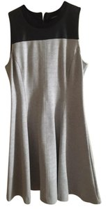 Club Monaco short dress Black Leather and Grey Faux Exposed Zipper on Tradesy