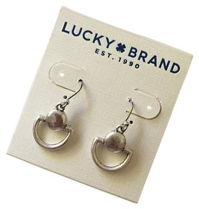 Lucky Brand NWT Matte Silvertone Doorknocker Earrings