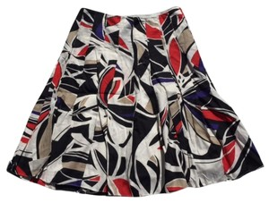 Kenneth Cole Print Red Skirt White with red, black, khaki and purple