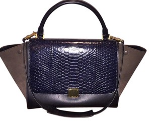 Céline Satchel in Dark Navy/Black/Brown
