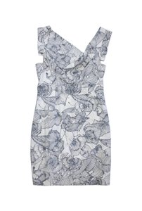 Black Halo short dress White & Blue Floral Print on Tradesy