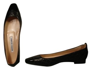 Manolo Blahnik New Patent Leather Toe Black Flats
