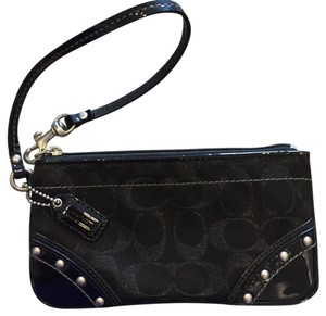 Coach Patent Leather Studded Wristlet in Black and Signature C