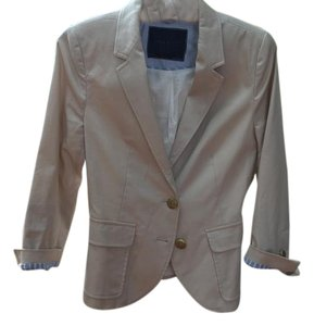 Zara Summer 3/4 Sleeves Gold Buttons Nautical Preppy Cream Blazer